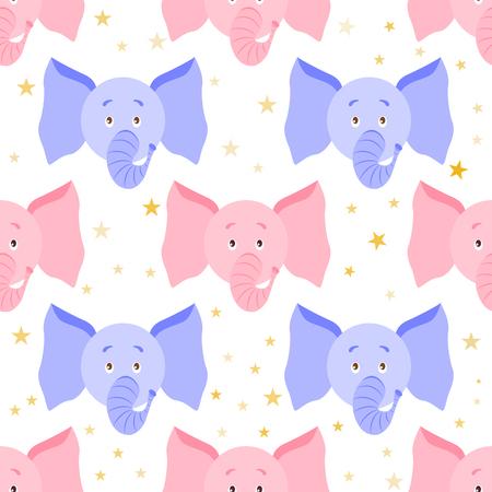 귀여운 만화 코끼리 원활한 유치 한 패턴입니다. 배경, 패브릭, 래퍼, 배경. 벡터 파일에는 자르지 않은 요소가 있습니다. 쉬운 편집을 위해 클리핑 마 일러스트