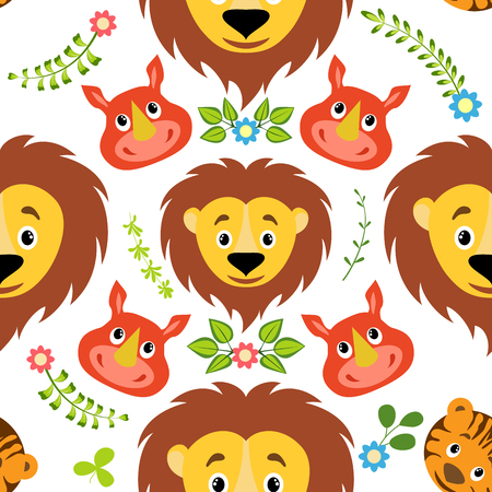 Cartoon lion, tiger and rhino with floral element seamless childish pattern. Background, fabric, wrapper, backdrop. The vector file has elements that are not cropped - a clipping mask is used for easy editing