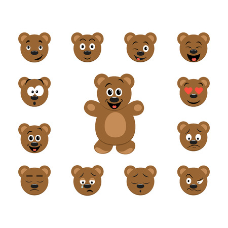Funny cartoon bear emoticon set. Bear character with collection facial expressions.  Vettoriali