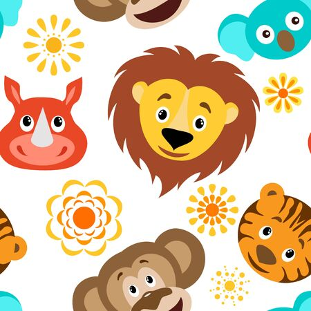 Funny cartoon wild animals head seamless childish pattern.Lion, rhino, koala, tiger and cartoon sun. Background, fabric, wrapper, backdrop.The vector file has elements that are not cropped - a clipping mask is used for easy editing.