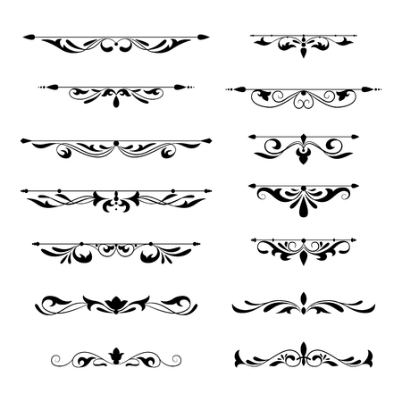 Floral decorative design element collection vintage style. Dividers set. Traced by hand from own sketch.