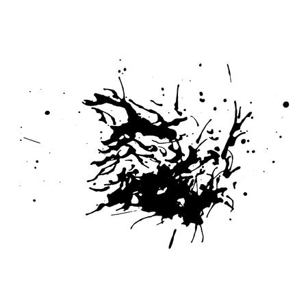 Black dirty design element. Grunge splash, spot, paint. Splatter messy distressed texture.