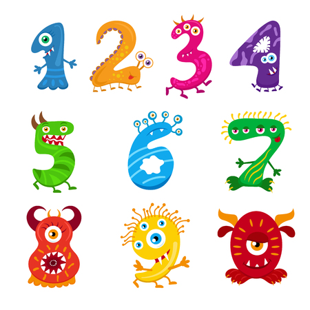 Funny cartoon numbers monster set. Collection isolated fantasy numerals for kids learning counting or mathematics. Cartoon monsters for children. Vettoriali