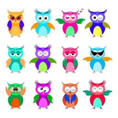 Various cartoon owl emoticon set. Funny owl emoji collection.