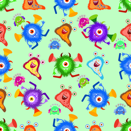 Funny cartoon monster seamless pattern. Background, fabric, wrapper, backdrop.Vector file not cropped -  clipping mask used for easy editing