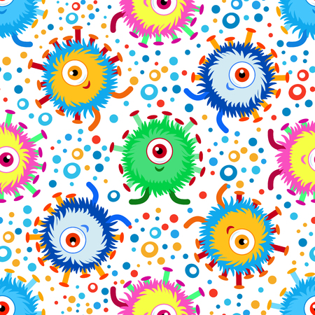 Funny cartoon monster with colorful dots seamless pattern. Background, fabric, wrapper, backdrop.Vector file not cropped - clipping mask used for easy editing