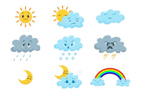 Conjunto de iconos de tiempo divertido de dibujos animados.