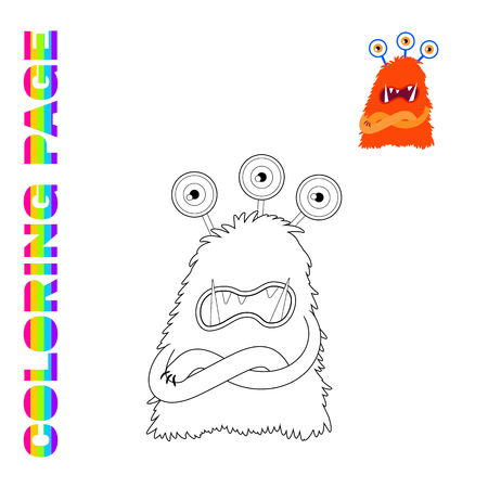 Black line and color version of cartoon ugly three-eyes monster  for kids coloring page book