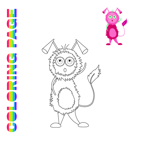 Black line and color version of cartoon lilac brooding monster  for kids coloring page book
