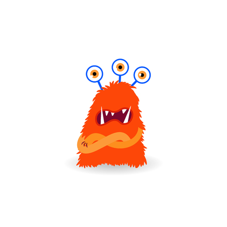 Cartoon ugly three-eyes redhead monster isolated on white