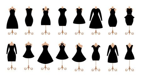 Woman black dresses fashion icon set. Female clothes collection. Çizim