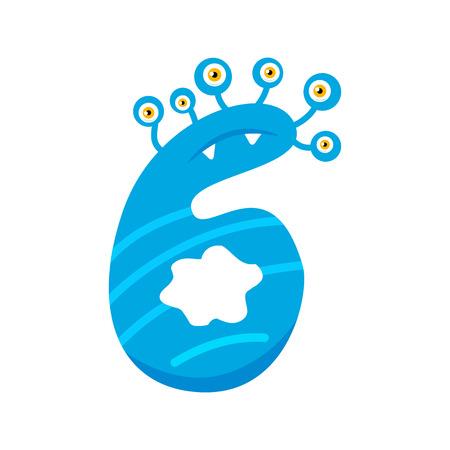 Cartoon niedliche blaue Monster Nummer sechs isoliert auf weißem Hintergrund. Kann für Kinder verwendet werden, die Zählen oder Mathematik lernen. Dekoratives Element Vektorgrafik