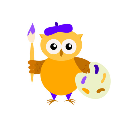 Cartoon owl-painter isolated on white backround. Cute owl with paintbrush and palette