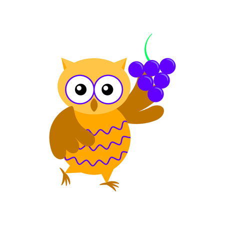 Cartoon owl with bunch of grapes isolated on white