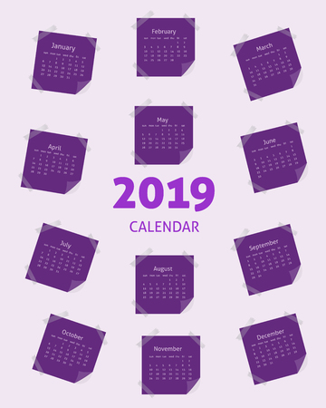 Calendar grid for 2019 on realistic paper labels. Calendar in purple tones in form of stickers.