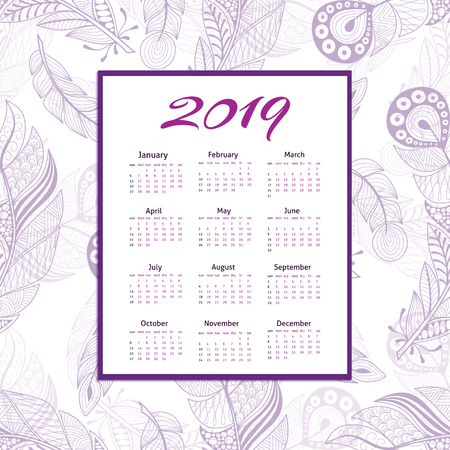 Calendar grid for 2019 on feathers background. Calendar in frame in purple tones with hand drawn pattern.