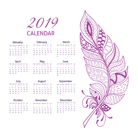 Calendar grid for 2019 with doodle ornate feather. Calendar in purple tones Illustration