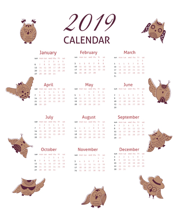 Calendar grid for 2019 with cartoon hand drawn owl. Calendar with brown cartoon owls in various positions. Illustration