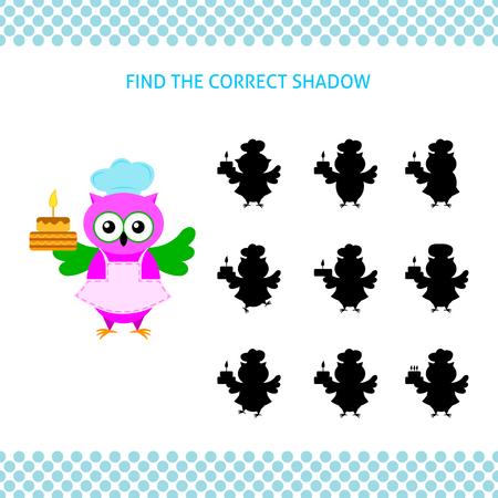Trova il gioco educativo per bambini ombra corretto. Gufo-cuoco del fumetto con la torta Vettoriali