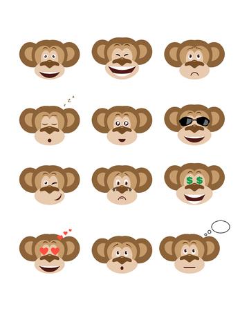 Emotions monkey set. Smiling, bored, enamored, sleepy, sad and other emotions chimpanzees collection. Set expressions avatar