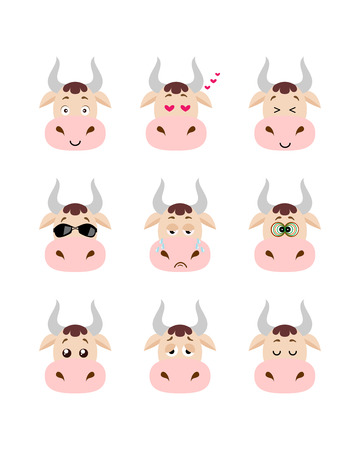 Emotions cow set. Smiling, bored, enamored, sleepy, sad and other cow's emotions collection. Set expressions avatar