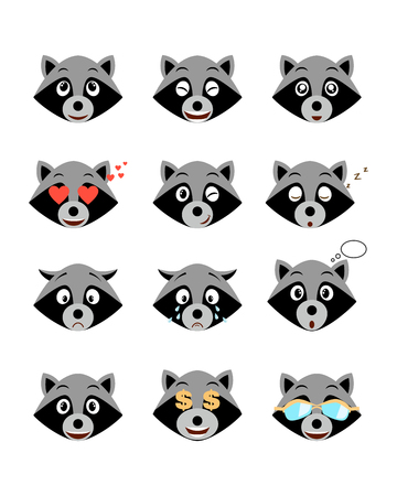 Cartoon raccoon emotions set. Smiling, bored, enamored, sleepy, sad, crying and other raccoon's emotions  collection. Set expressions avatar