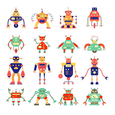 Cartoon different robot collection in retro color. Can be used for childrens production