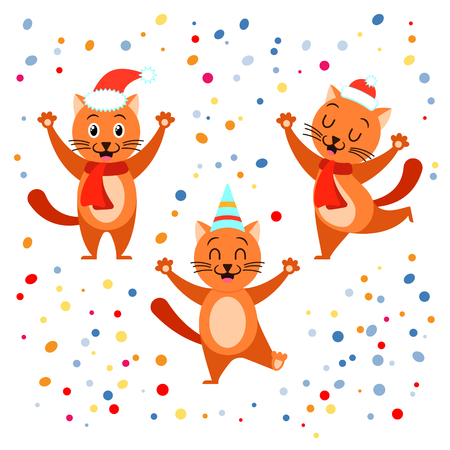 Festive funny cat collection in confetti background.Can be used for Christmas design. Иллюстрация