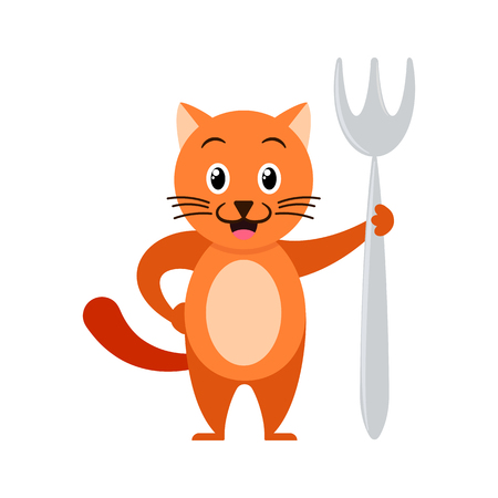 Cartoon ginger cat with big fork. Illustration for kids.