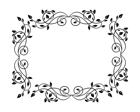 Floral empty frame vintage style. Can be used for greeting, message, announcement and other design