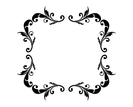 Estilo vintage floral marco vacío. Se puede utilizar para saludos, mensajes, anuncios y otros diseños. Ilustración de vector