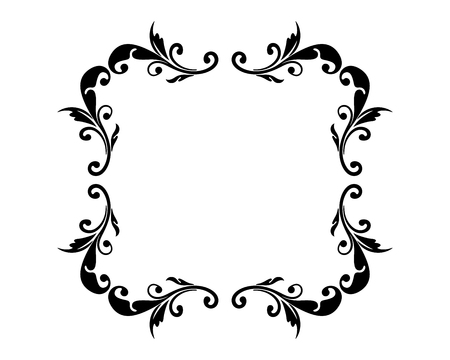 Floral empty frame vintage style. Can be used for greeting, message, announcement and other design Vettoriali