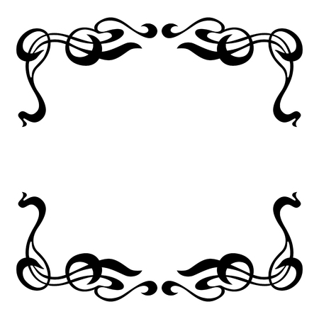 Empty decorative vintage  frame. Art Nouveau style ornamental border for your design Ilustração