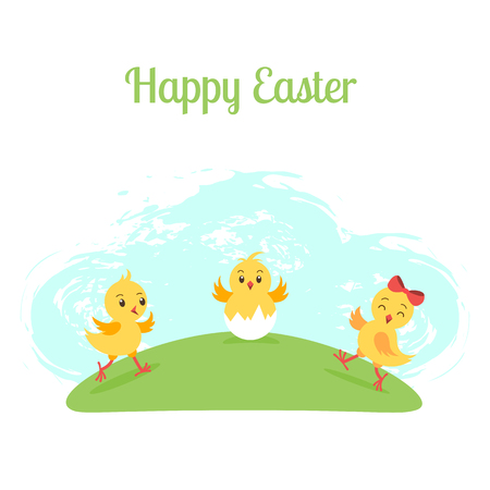Three cartoon funny chicken on green meadow. Happy Easter greeting card template. Background, poster, banner.