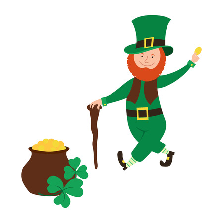 Smiling leprechaun holds a coin in his hand and  pot of gold. Symbol for Saint Patrick Day. Çizim