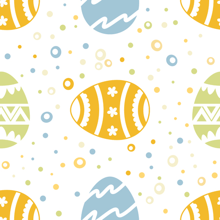 Seamless pattern wirh ornate Easter eggs in pastel color. Background, wrapper, textile, fabric, scrapbook. Vector file  not cropped - clipping mask used for easy editing. 일러스트