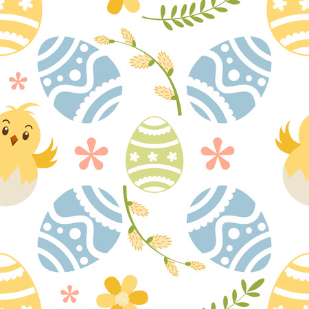Seamless pattern wirh ornate Easter eggs,willow branchand chiken  in pastel color. Background, wrapper, textile, fabric, scrapbook. Vector file  not cropped - clipping mask used for easy editing.