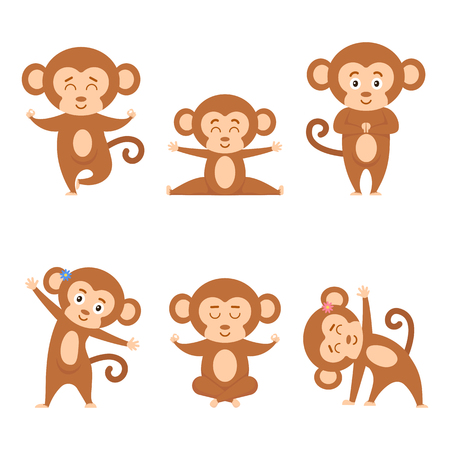 Collection cartoon funny monkey practicing yoga position. Set ape doing gymnastics