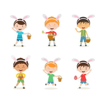 Cartoon children with bunny ears set. Spring  cute boys in easter costumes with basket and egg. Children hunting for easter eggs Иллюстрация