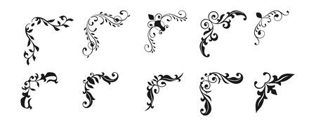 Collection creative hand drawn corner vintage style. Floral decorative element set for your design.