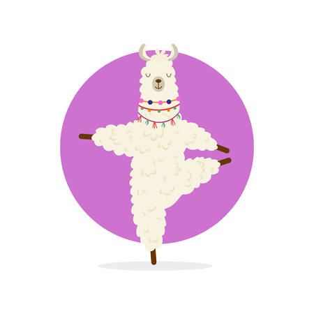 Cute cartoon llama practicing yoga pose. Animal yoga. Relaxation and meditation illustration. Foto de archivo - 122381289