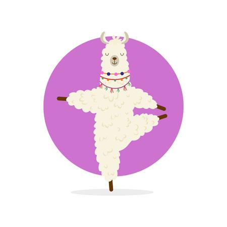 Lama de dessin animé mignon pratiquant la pose de yoga. Yoga animalier. Illustration de relaxation et de méditation. Vecteurs