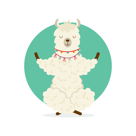 Cute cartoon llama practicing yoga pose. Animal yoga. Relaxation and meditation illustration.
