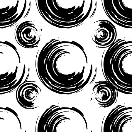 Black and white modern grunge geometric seamless pattern. Hand drawn grunge texture with circle shape. Can be used for fabric, scrabook,paper, wrapper, backdrop, textile. Vector Illustration
