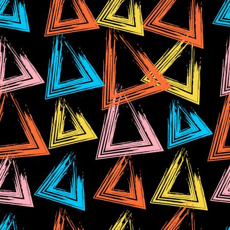 Geometrisches nahtloses Muster des modernen Schmutzes mit Dreieckform. Handgezeichnete Grunge-Textur. Kann für Stoff, Scrapbook, Papier, Wrapper, Hintergrund, Textil verwendet werden.