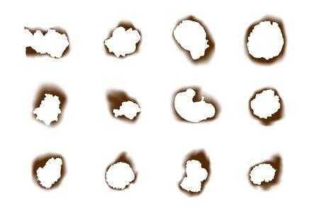 Collection burnt paper holes on white background. Burned scorched holes set Иллюстрация