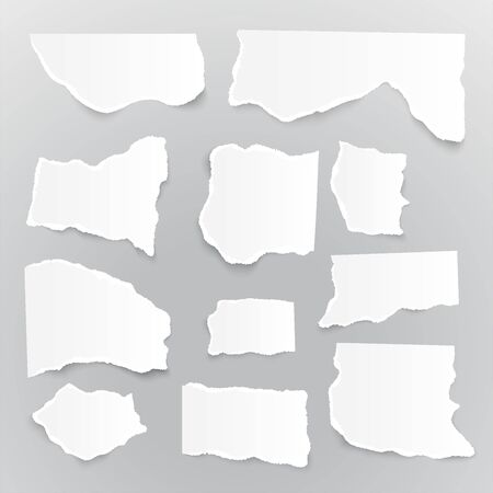 Collection different shapes torn paper pieces. Set of ripped paper sheets. Template for notes, banners, scraps, advertising. Иллюстрация