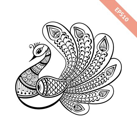 Hand drawn black line peacock mehendi style.Decoration in ethnic Indian style.Doodle sketch for tattoo, coloring page, t-shirt design, embroidery.