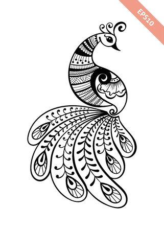 Style mehendi de paon de ligne noire dessiné à la main. Décoration dans un style indien ethnique. Croquis de griffonnage pour tatouage, coloriage, conception de t-shirt, broderie.