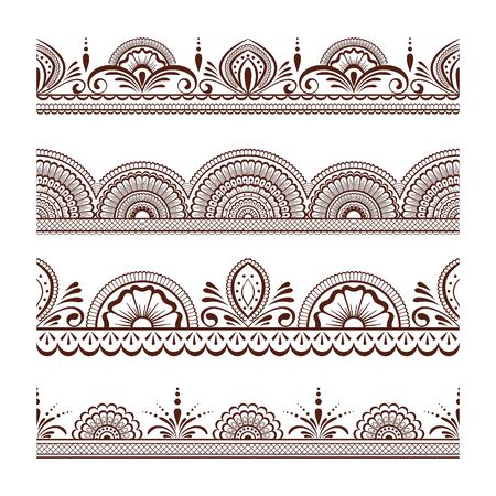 Collection seamless border with floral ornament mehendi style.Decorative pattern ethnic style for your design Иллюстрация